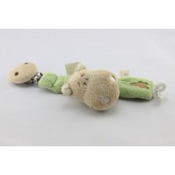 Attache tétine Doudou hippopotame beige vert NOUKIE'S