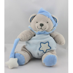 Doudou luminescent ours gris bleu étoile BABY NAT