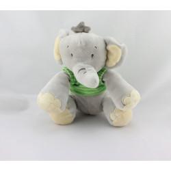 Doudou éléphant gris vert blanc TITOUTAM