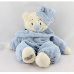 Doudou semi plat ours bleu blanc éponge BUKOWSKI