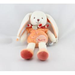 Doudou et compagnie lapin Bonnie blanc orange