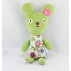 Doudou souris verte fleurs MINI LABO 3 SUISSES