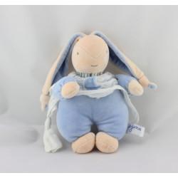 Doudou lapin bleu blanc AJENA