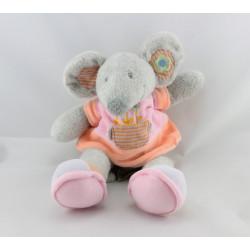 Doudou souris grise robe rose fleurs NICOTOY