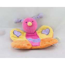 Doudou plat marionnette papillon jaune rose orange violet coeurs UN REVE DE BEBE