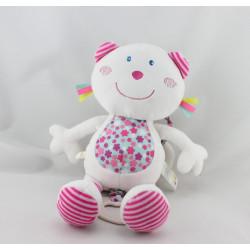 Doudou musical ours blanc rose bleu P'TIT BISOU AUBERT