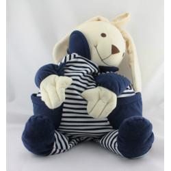 Grand Doudou range pyjama lapin blanc bleu rayé NICO DINGO