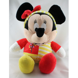 Grand Doudou peluche Minnie pyjama rouge jaune rayé DISNEY