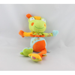 Doudou vibrant grenouille verte bleu orange Babysun