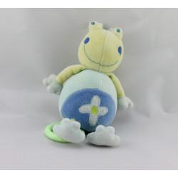 Doudou musical grenouille verte bleu fleur Babysun