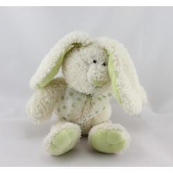 Doudou lapin blanc vert pois GIPSY