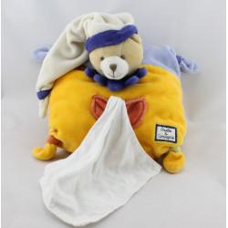 Doudou et compagnie coussin ours arlequin bleu jaune orange mouchoir