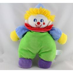 Doudou clown vert bleu violet jaune rouge MAXITA