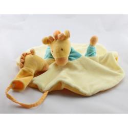 Doudou plat rond girafe jaune bleu MOULIN ROTY