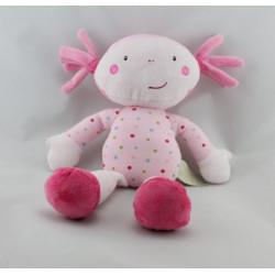 Doudou poupée fille rose pois TAPE A L'OEILorange TAPE A L'OEIL