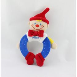 Doudou hochet clown bleu blanc rouge CHICCO