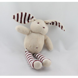 Doudou lapin beige rayé marron SERGENT MAJOR