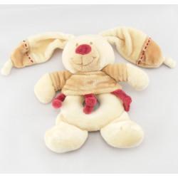 Doudou hochet anneau lapin beige bordeaux NICOTOY