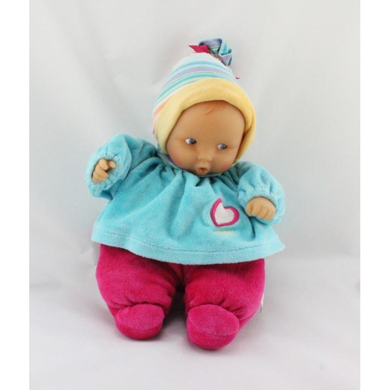 Doudou bébé poupée Baby Pouce bleu rose rayé COROLLE 2009