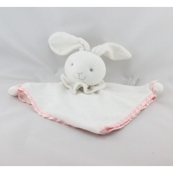 Doudou plat lapin blanc satin rose ANNA CLUB PLUSH