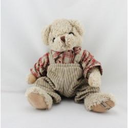 Doudou peluche ours beige chemise carreaux rouge LOUISE MANSEN