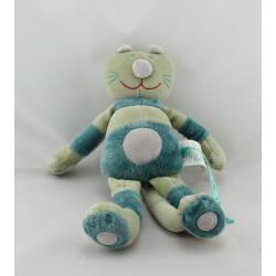 Doudou chat vert bleu DPAM