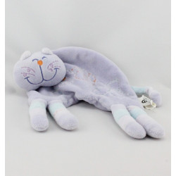 Doudou plat chat mauve bleu CATIMINI
