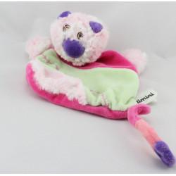 Doudou plat chat rose vert violet CATIMINI