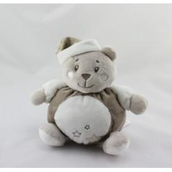Doudou ours blanc gris marron étoiles KIMBALOO