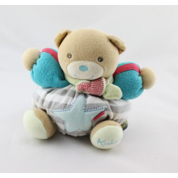 Doudou ours bleu vert rayé gris étoile KALOO