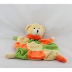 Doudou plat ours orange vert jaune PLAYKIDS