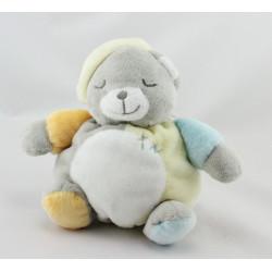 Doudou boule ours blanc gris jaune bleu orange KIMBALOO