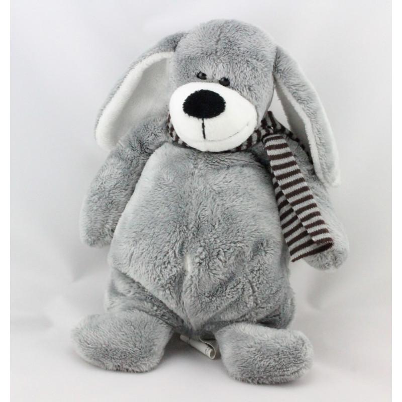 Doudou chien gris écharpe rayé TCF TOUT COMPTE FAIT