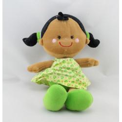 Doudou ma première poupée métis robe verte coeurs KIKOU