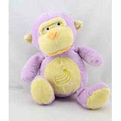 Doudou singe rose mauve banane