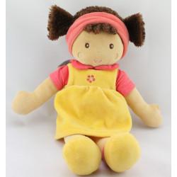 Doudou poupée fille rouge jaune fleur NOUNOURS