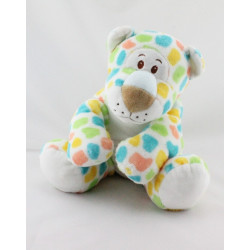 Doudou chat tigre léopard blanc bleu jaune vert rouge  ANNA CLUB PLUSH