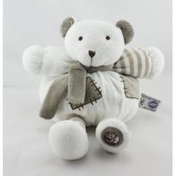 Doudou boule ours blanc beige grelot Dodo d'amour MGM