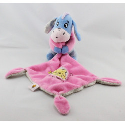Doudou plat mouchoir Bourriquet lapin bleu rose pois DISNEY