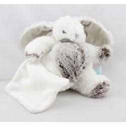 Doudou Lapin blanc beige mouchoir Baby nat