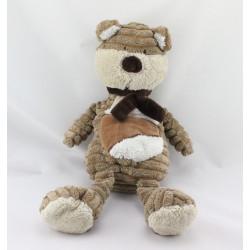 Doudou ours beige marron blanc écharpe BENGY