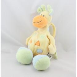 Doudou musical Girafe jaune bleu avec formes NATTOU