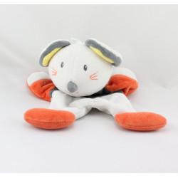 Doudou plat souris blanche grise orange SUCRE D'ORGE