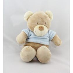 Doudou Ours beige tee shirt bleu Pommette