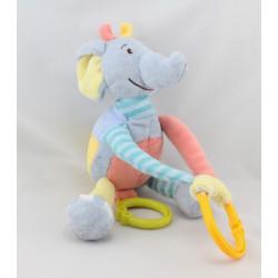 Doudou musical éléphant bleu jaune rouge BABY NAT