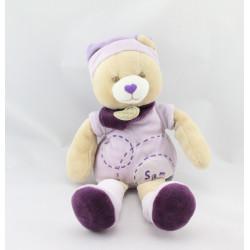 Doudou et compagnie ours mauve violet Sam
