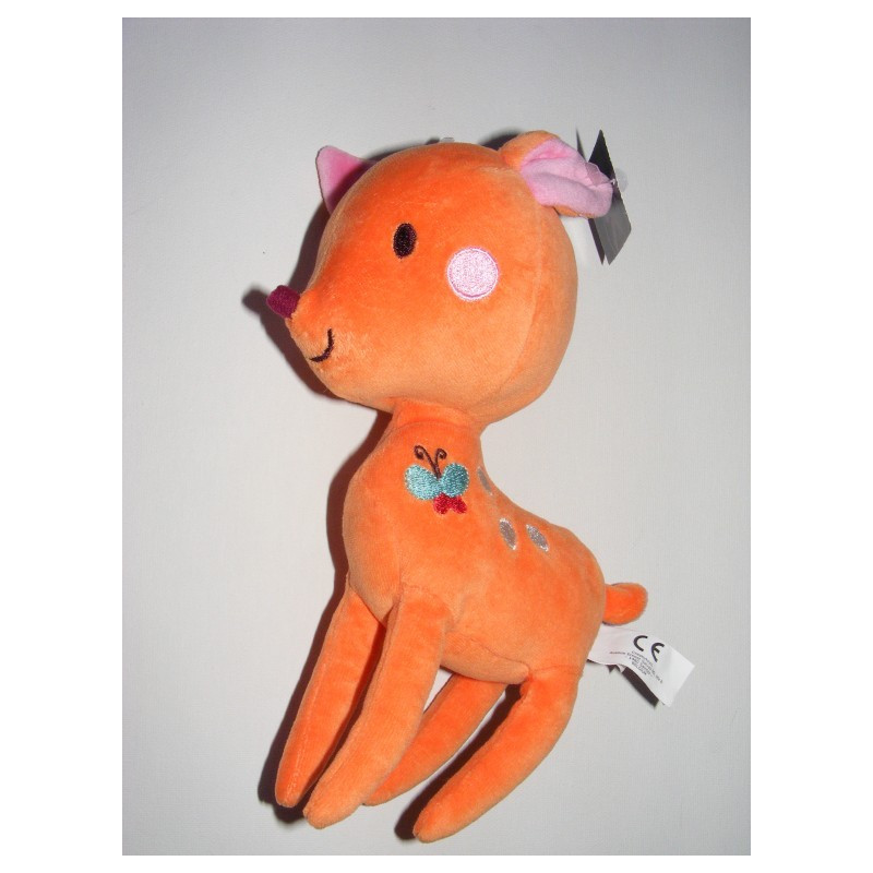 Doudou plat biche faon rose orange KITCHOUN KIABI