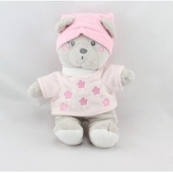Doudou ours rose gris NICOTOY