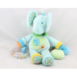 Doudou éléphant bleu vert feuille hochet NICOTOY