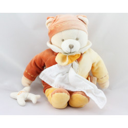 Doudou et compagnie ours cannelle avec mouchoir avion